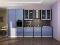 Изображение кухонного гарнитура голубого цвета