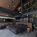 бежево коричневые шторы в интерьере