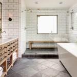 дизайн черно белых ванн комнат