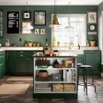 дизайн красно зеленой кухни
