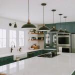 дизайн кухни бело зеленого цвета фото