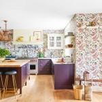 дизайн кухни гостиной фиолетовый