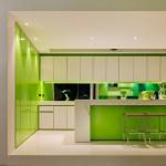 дизайн кухни гостиной в зеленых тонах