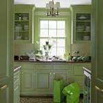 дизайн кухни с темно зеленым кухонным гарнитуром