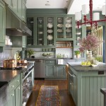 дизайн кухни с зеленым гарнитуром