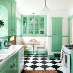 дизайн кухни с зеленым кухонным гарнитуром