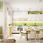 дизайн кухни стены зеленого цвета