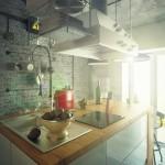 дизайн кухни угловой лофт