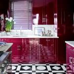 дизайн кухни в серо фиолетовых тонах