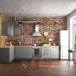 kitchen design in loft style. 3d illustration