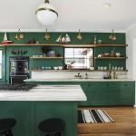 дизайн кухни в зелено бежевых тонах