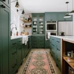 дизайн кухни в зелено коричневых тонах