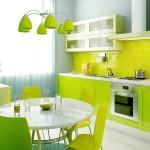 дизайн кухни зеленого цвета угловаЯ
