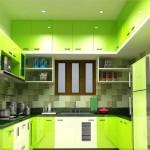 дизайн маленькой зеленой кухни фото