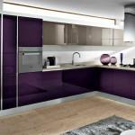 дизайн серо фиолетовой кухни