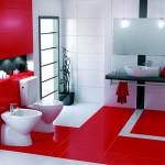 дизайн ванной черно бело красного цвета