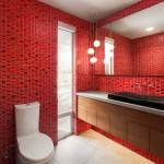 дизайн ванной комнаты красно белой плиткой