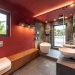дизайн ванной комнаты плиткой красной