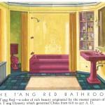 дизайн ванной комнаты в красно белом