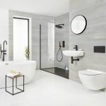 дизайн ванны в черно белом тоне