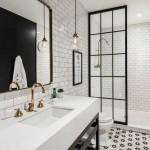 дизайнерское решение ванной комнаты черно белой