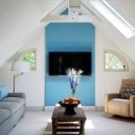 интерьер гостиной в стиле лофт белый кирпич