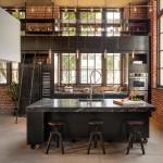 интерьер кухни гостиной в стиле лофт фото