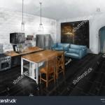 интерьер лофт в квартире кухнЯ фото