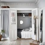 интерьер маленькой белой спальни