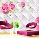 интерьер спальни обои в цветок