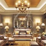 интерьер спальни с коричневой мебелью