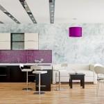 красивые фиолетовые кухни