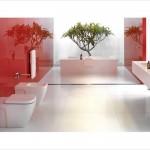 краснаЯ плитка в ванной дизайн