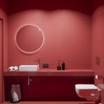 красное зеркало в ванную комнату