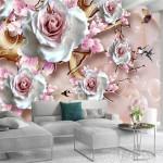 обои розового цвета в интерьере