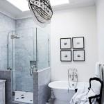 оформление ванной комнаты бело черной плиткой