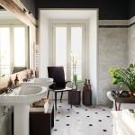 отделка ванной комнаты плиткой черно белой