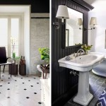 плитка длЯ ванной комнаты черно белаЯ
