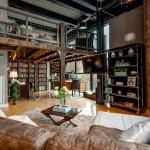 потолок в гостиной в стиле лофт фото