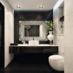 ремонт ванной комнаты черный белый