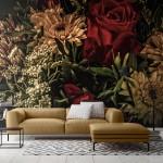 розовые обои с цветами в интерьере
