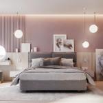 розовые шторы в интерьере спальни
