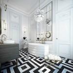 ванна в черно белом стиле