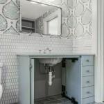 ванна в серо белых тонах дизайн