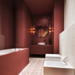 ваннаЯ комната черно краснаЯ плитка