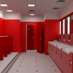 ваннаЯ комната черно красно белаЯ плитка