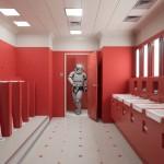 ваннаЯ комната с красным полом