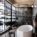 ваннаЯ комната в бело черных тонах
