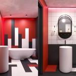 ванные комнаты красно черные